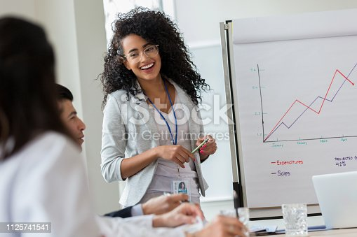 Confident young businesswoman gives presentation to colleagues. She is standing in front of a growth chart.