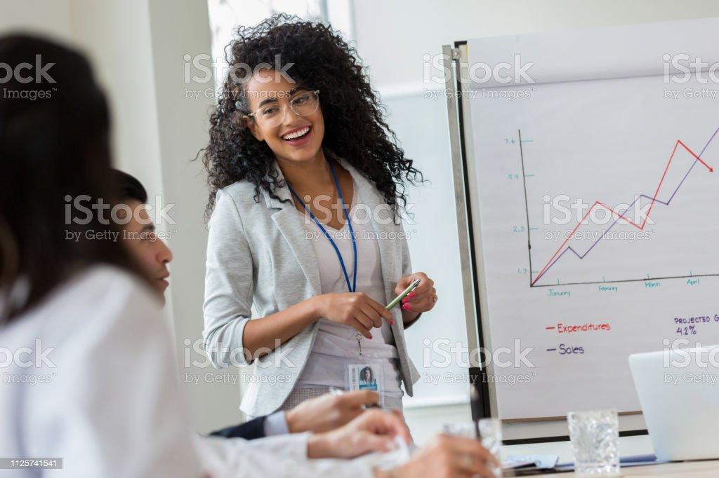 Young businesswoman gives presentation to colleagues stock photo