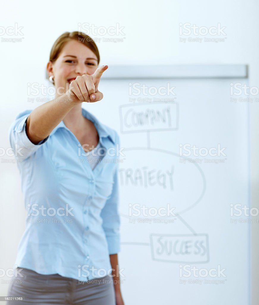 Young businesswoman giving presentation royalty-free stock photo