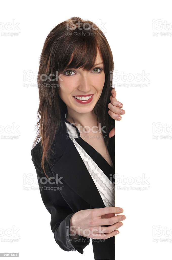 Young businesswoman holding a blank sign royalty-free stock photo