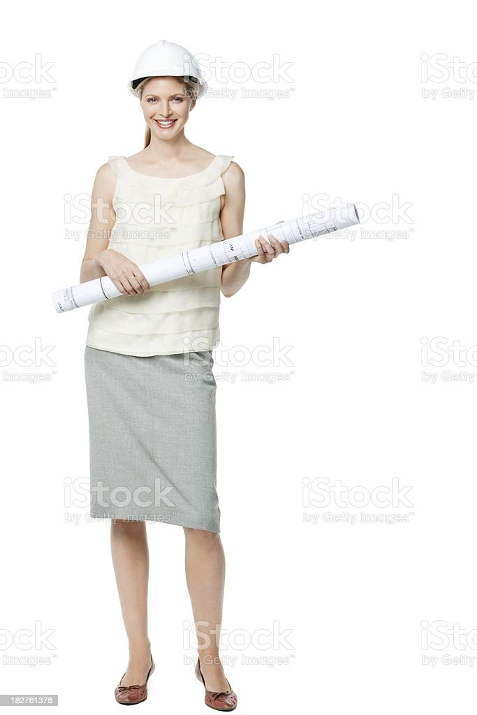 Young Businesswoman Holding Blueprints - Isolated royalty-free stock photo