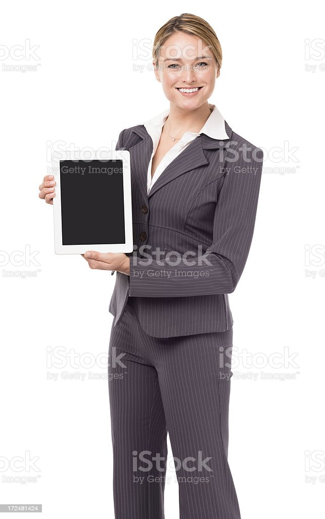 Young Businesswoman Holding Digital Tablet Computer Isolated on White Background royalty-free stock photo