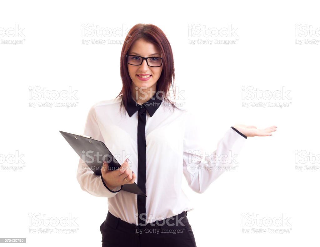 Young businesswoman holding folder royalty-free stock photo