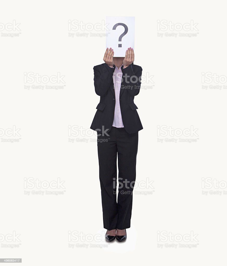 Young businesswoman holding paper with a question mark on it stock photo