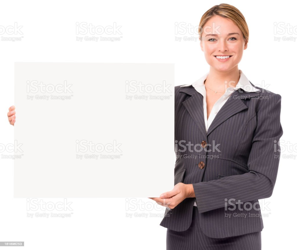 Young Businesswoman Holding Sign Isolated on White Background royalty-free stock photo