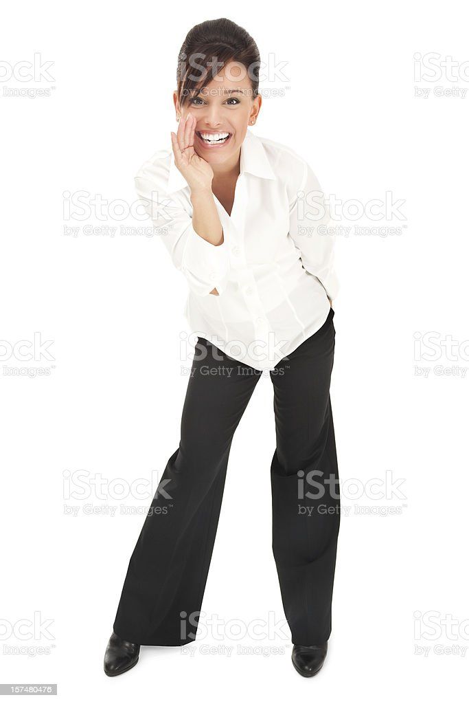 Young Businesswoman in White with a Secret royalty-free stock photo