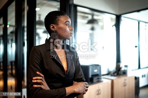 Young businesswoman looking away