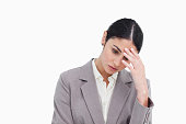istock Young businesswoman looking sad 824851864
