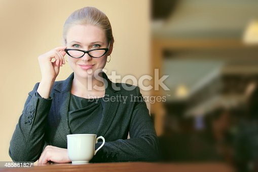 istock Young businesswoman on a coffee break 485881827