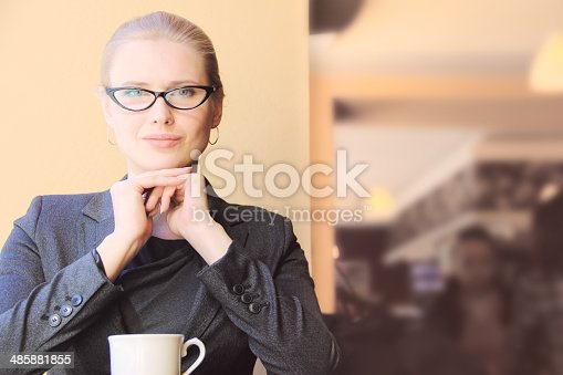 istock Young businesswoman on a coffee break 485881855