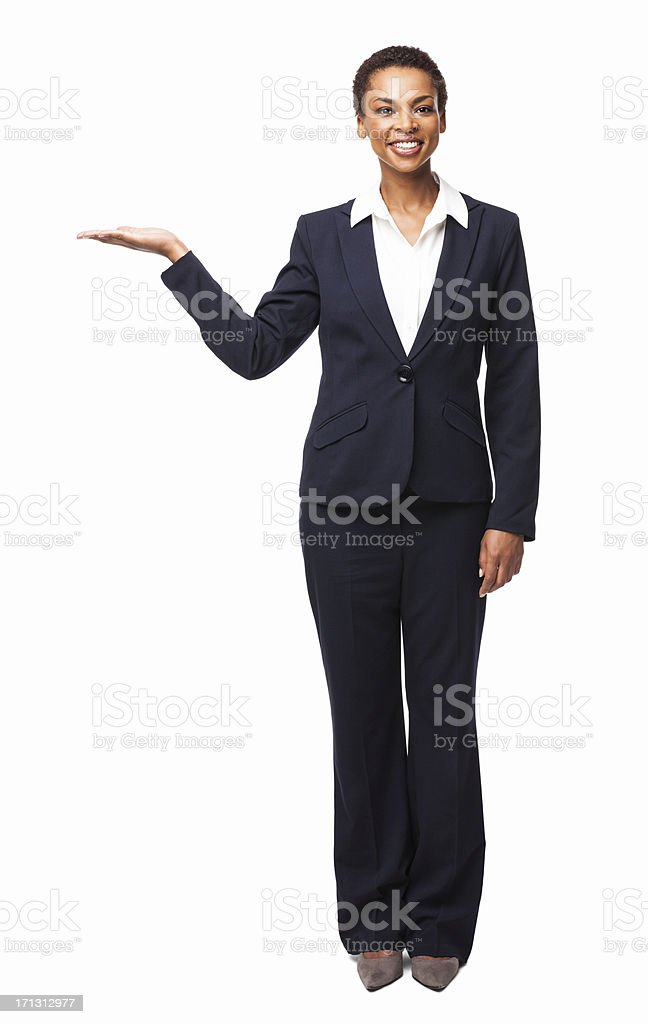 Young Businesswoman Presenting a Product - Isolated stock photo