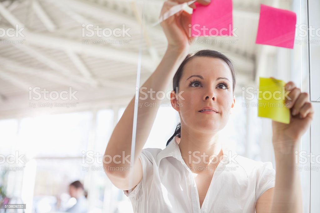 Young businesswoman putting adhesive notes on glass wall in office stock photo