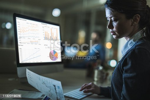 Young female entrepreneur reading business charts while working on desktop PC late in the office.