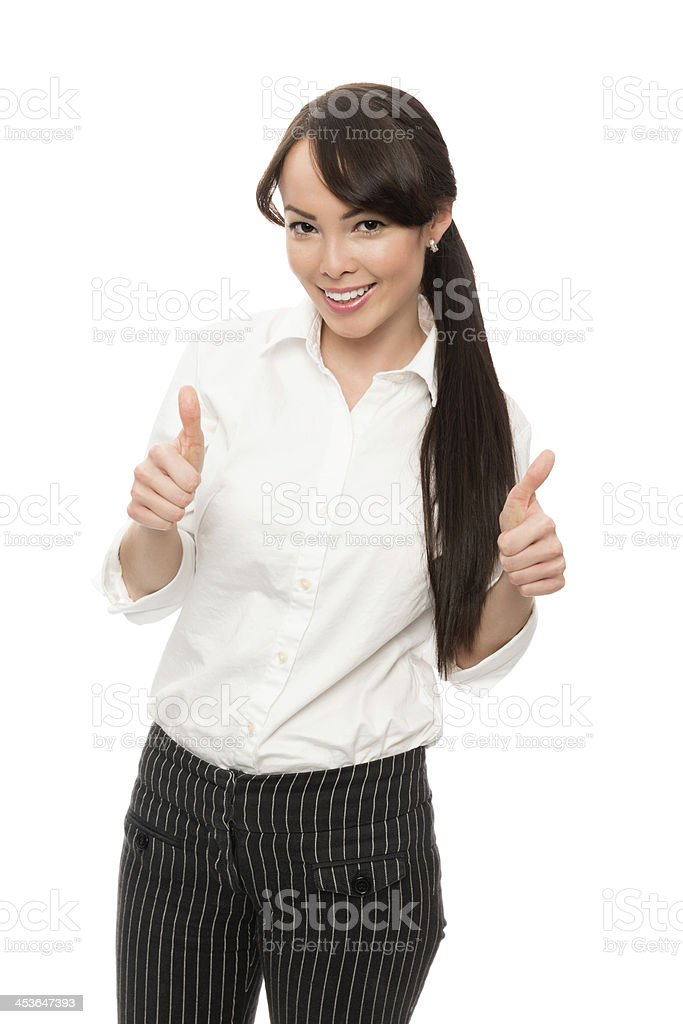 Young  Businesswoman Showing Thumbs Up royalty-free stock photo