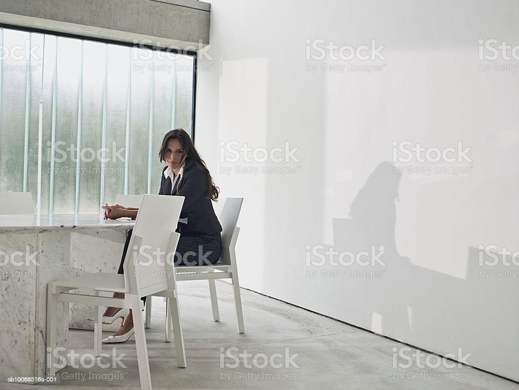 Young businesswoman sitting at conference table, smiling, portrait royalty-free stock photo