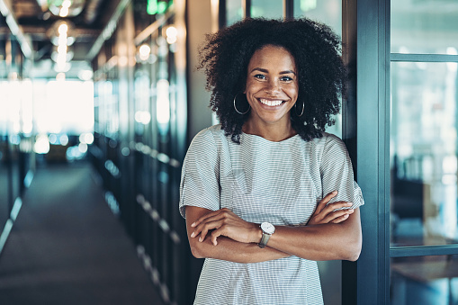 Portrait of a smiling businesswoman with arms crossed