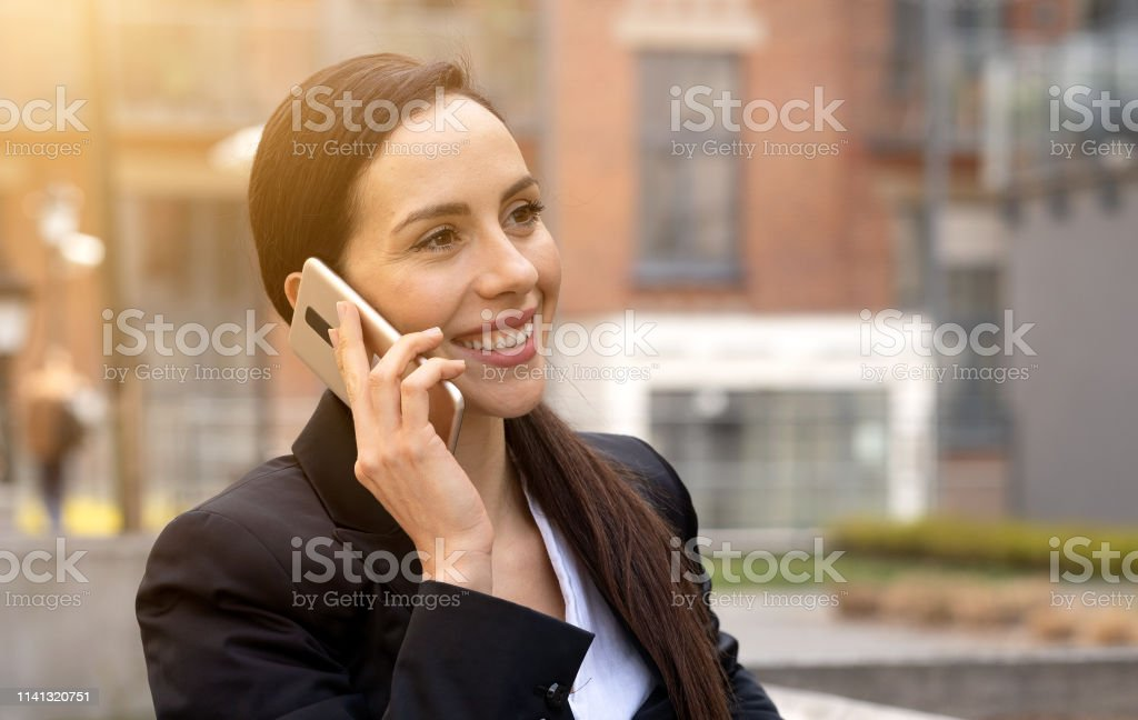 Young businesswoman talking on the phone royalty-free stock photo