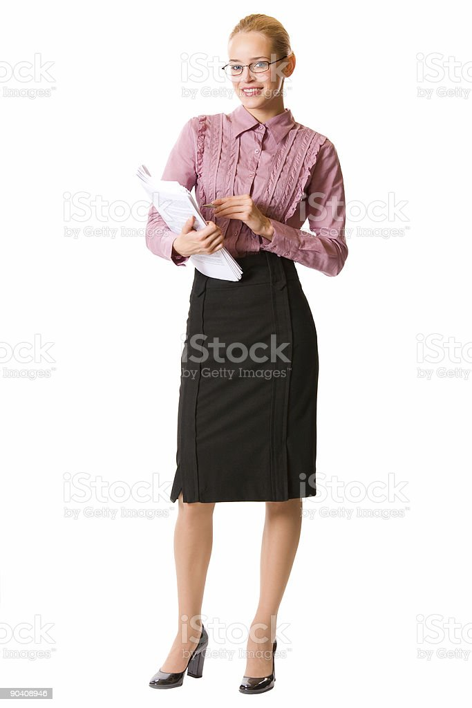 Young businesswoman, teacher or student, isolated on white royalty-free stock photo