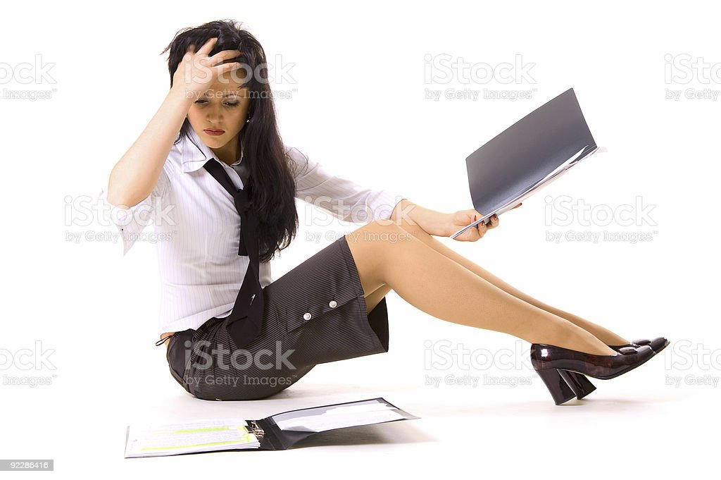 young businesswoman thinking royalty-free stock photo
