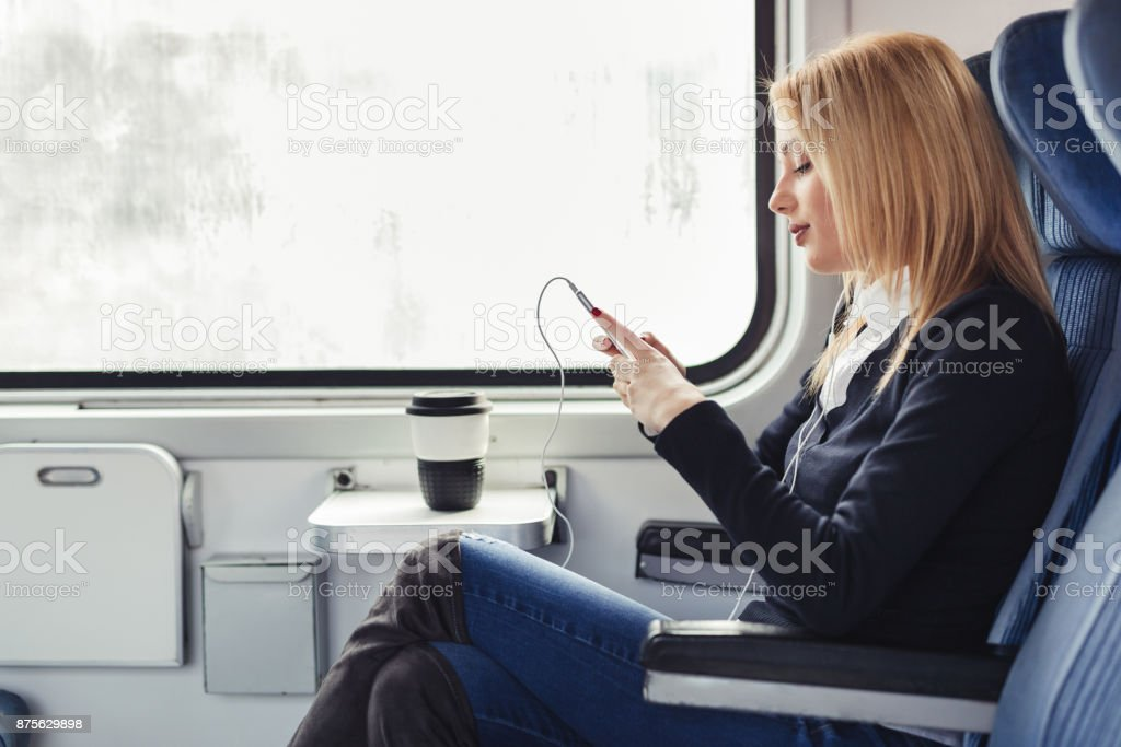 Young businesswoman traveling stock photo