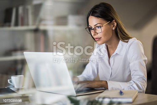 Young beautiful businesswoman working on her computer in the office. The view is through glass.