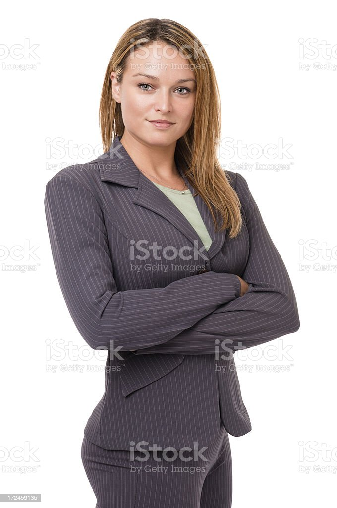 Young Businesswoman with Arms Crossed Isolated on White Background royalty-free stock photo