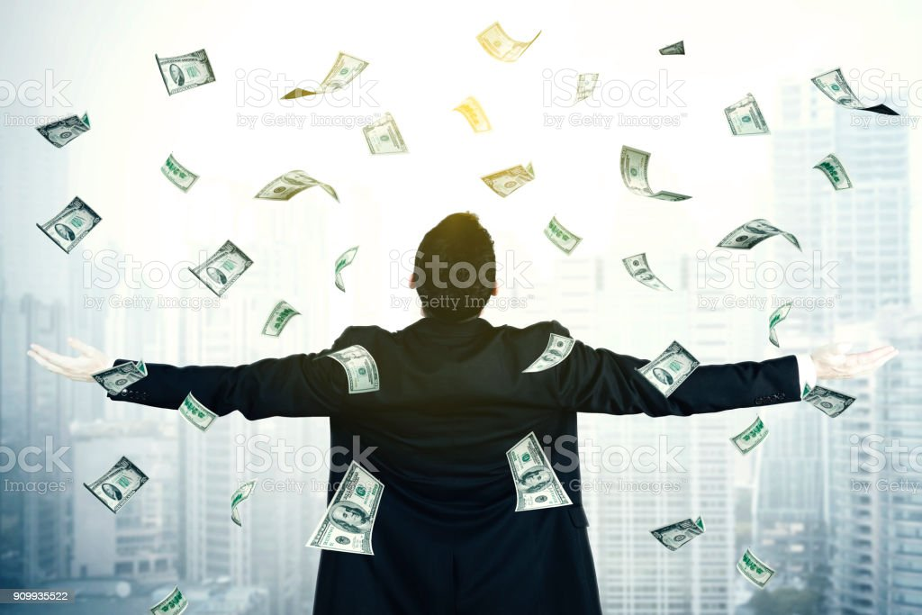 Young businesswoman with dollar money stock photo