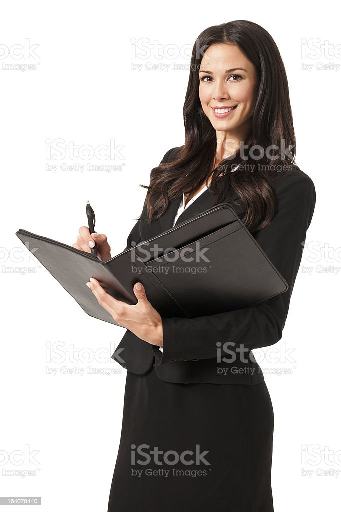Young Businesswoman with Folio Isolated on White Background royalty-free stock photo