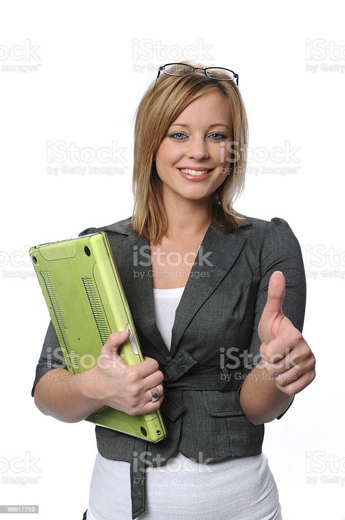 Young businesswoman with laptop royalty-free stock photo