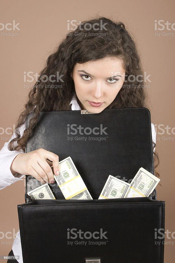 Młody Biznesmenka z pieniędzmi zbiór zdjęć royalty-free