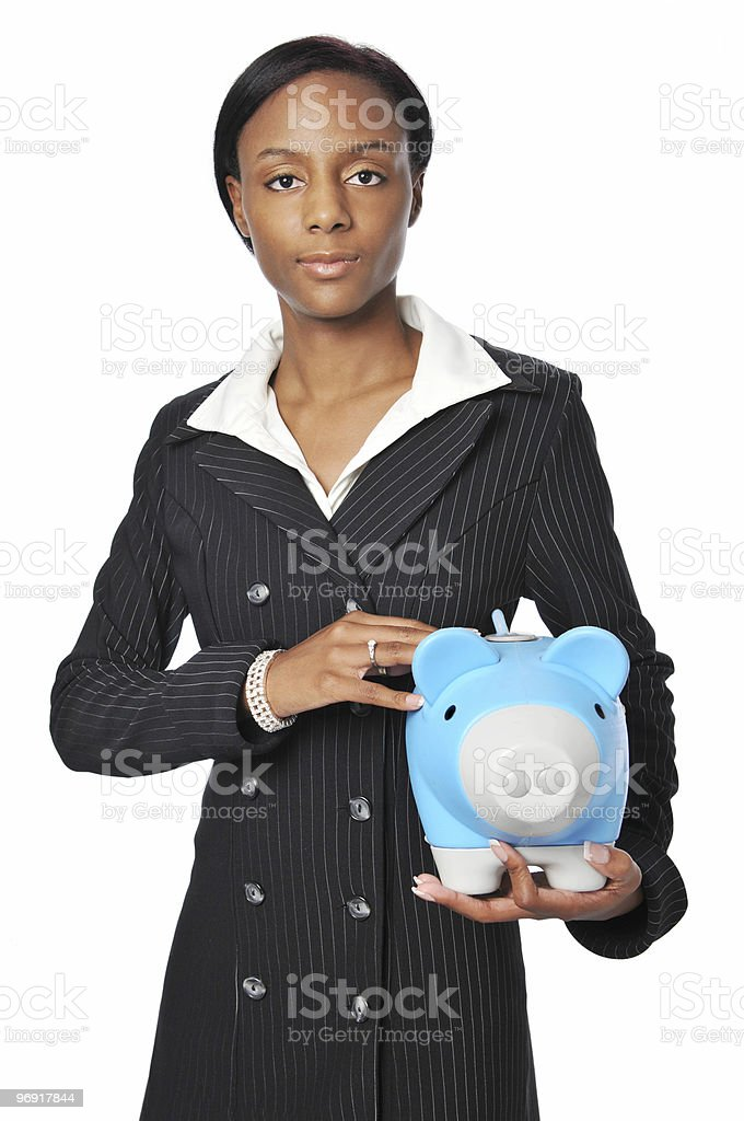 Young Businesswoman with Piggy Bank royalty-free stock photo