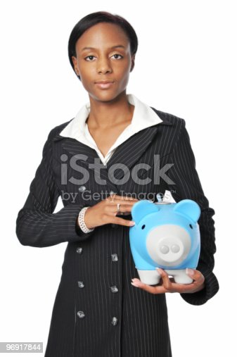 Young Businesswoman With Piggy Bank Stock Photo & More Pictures of Adult