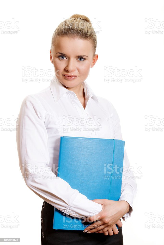Young businesswoman with planner stock photo