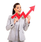 excited young businesswoman with red growth arrow
