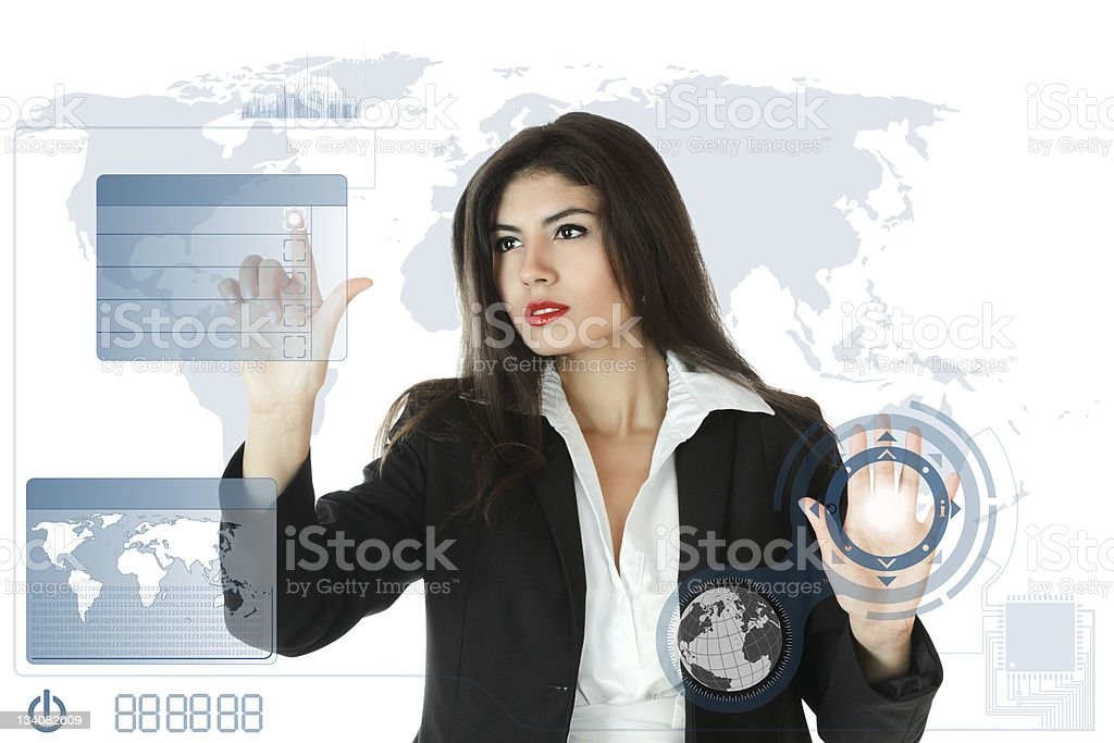 Young businesswoman working on touch screen royalty-free stock photo