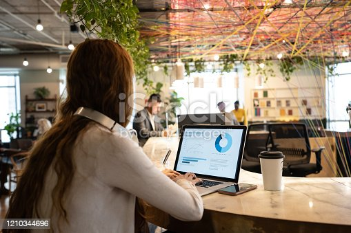 1151920695 istock photo Young businesswoman working with laptop at coworking 1210344696
