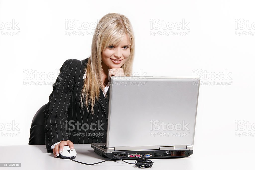 Young businesswoman working with laptop stock photo