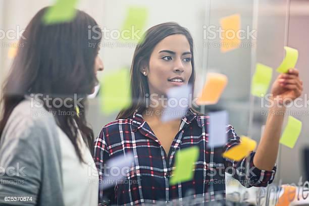 Junge Geschäftsfrauen Diskutieren Über Haftnotizen Auf Glas Stockfoto und mehr Bilder von Arbeiten