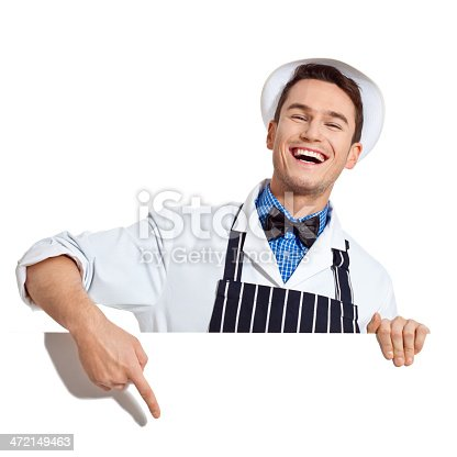 istock Young Butcher with Whiteboard 472149463