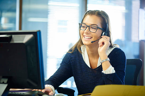 young call centre rep - switchboard operator stock photos and pictures
