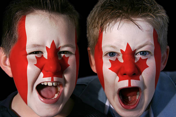 Young Canadian Ice Hockey Supporters stock photo