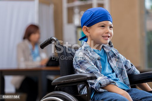 823893962 istock photo Young cancer patient in doctor's office waiting area 638551584