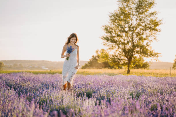 Young Carefree Woman in Romantic Lavender Field stock photo