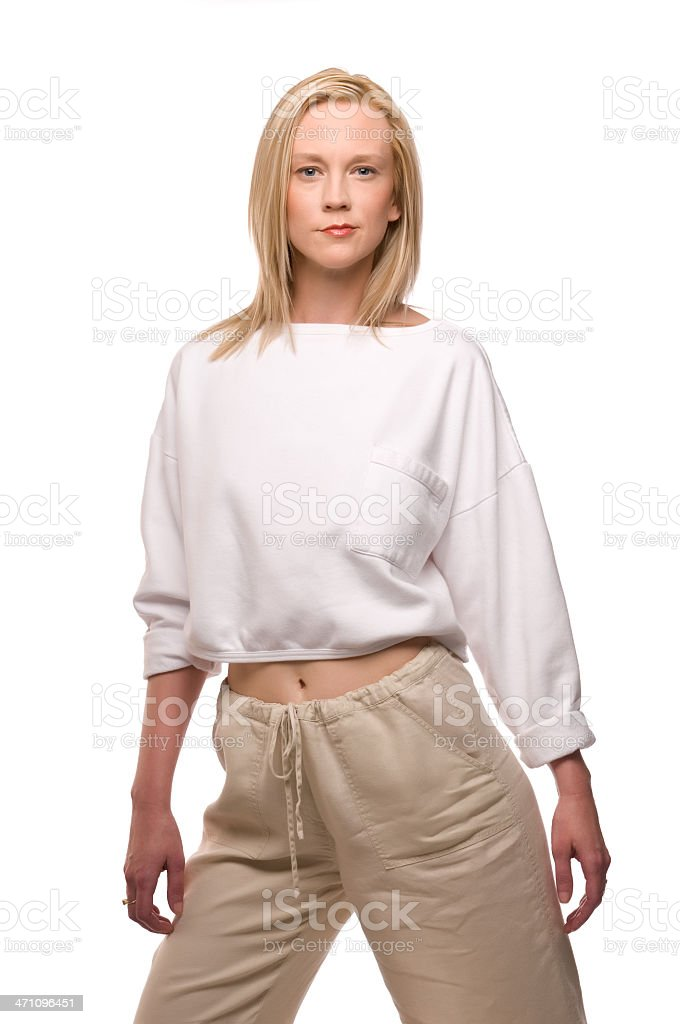 Young casual blonde model stock photo