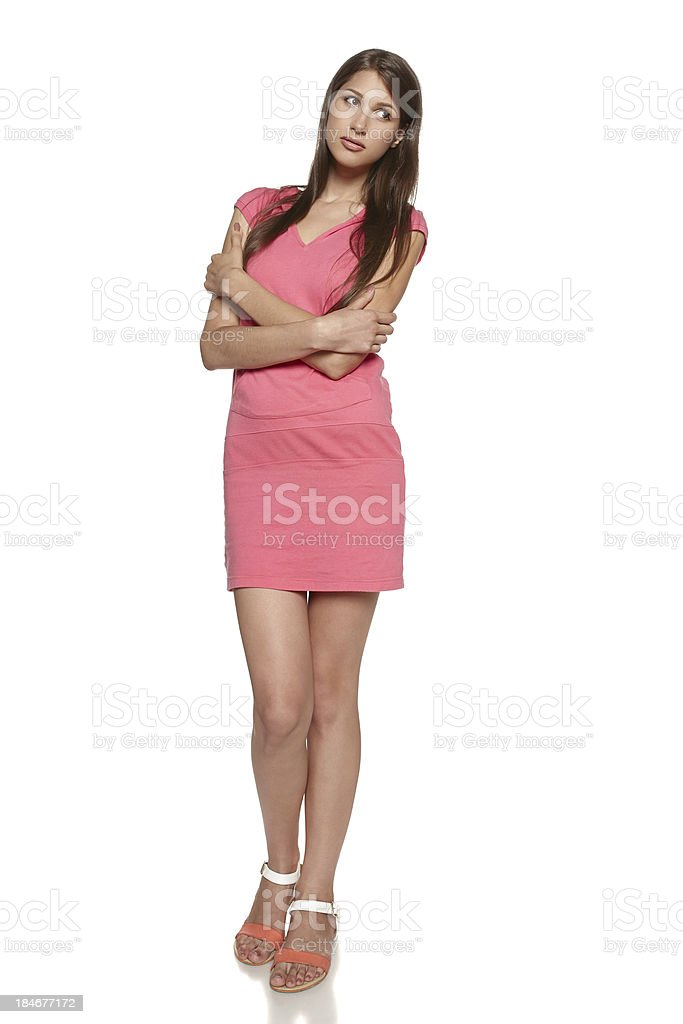 Young casual female feeling uncomfortable stock photo