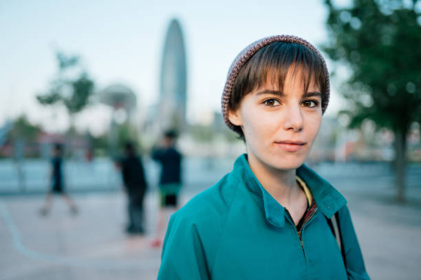 Young casual woman in Glories square in Barcelona stock photo