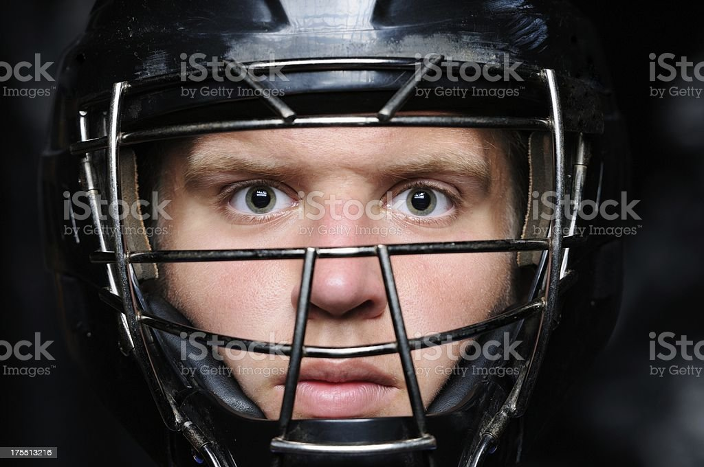 Young catcher in mask stock photo