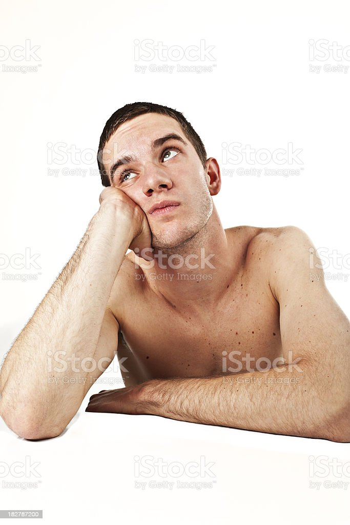 young caucasian bored man indoor portrait royalty-free stock photo