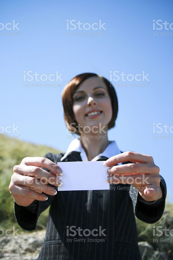 Young caucasian business lady with copyspace royalty-free stock photo
