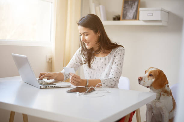 Young Caucasian businesswoman doing on on line payment stock photo